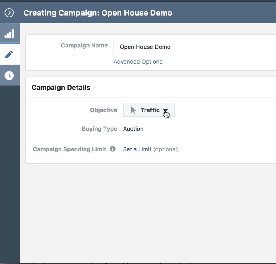 Campaign objective is to generate traffic to a landing page.