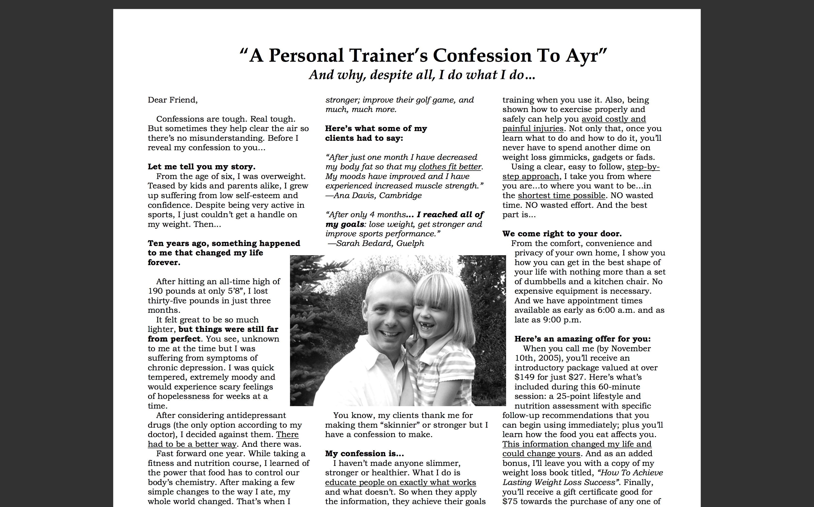 Personal Training Advertorial