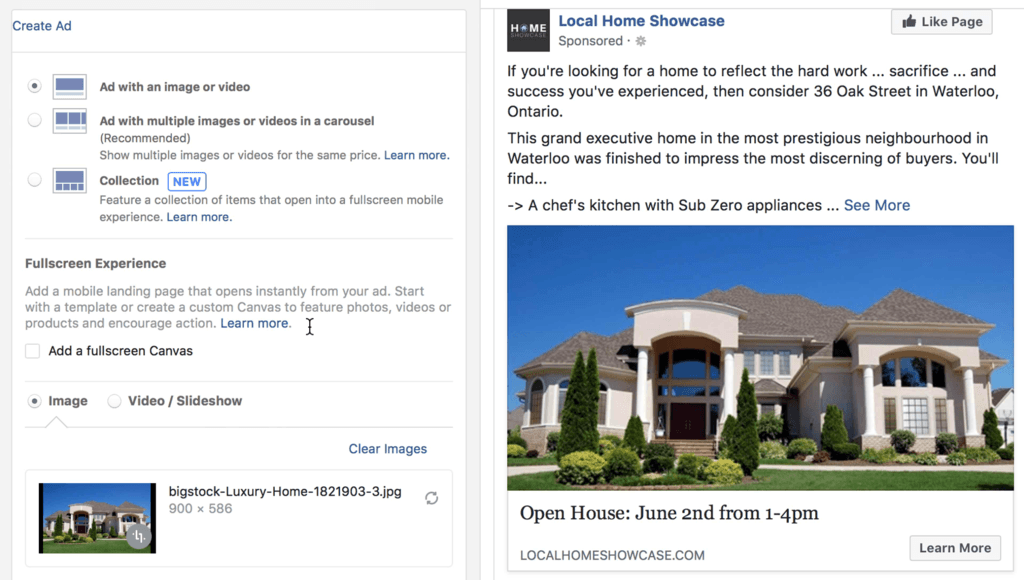 The structure of your open house ad