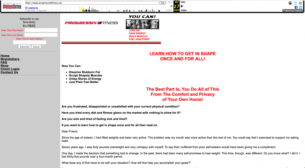 My first website from 2003